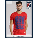 Mens Red Printed Round Neck T-Shirt
