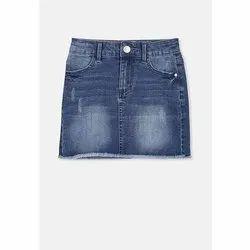 Blue Casual Wear Baby Girl Faded Denim Skirt, 22-32