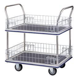 Four-Wheel Shopping Trolley 2 Shelves Material Handling Trolleys