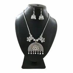 Oxidized Chain Flower Necklace Set