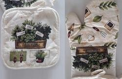 Cotton Printed Set Of Pot Holder & Oven Glove