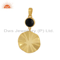 Black Onyx Wavy Disc Design Silver Gold Plated Pendants