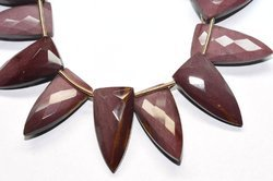 3 Pairs 12x24mm Natural Mookaite Jasper Faceted Large Pyramid Shape Briolette Beads