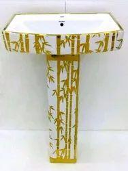 MoonHeart gold Designer Pedestal Wash Basins, For Home