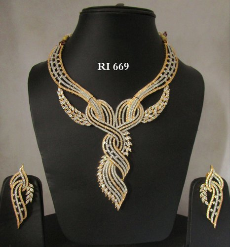 Golden American Diamond Designer Necklace Set Rs 4100 Set Id