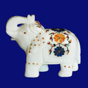Handcrafted Marble Inlay Elephant Sculpture