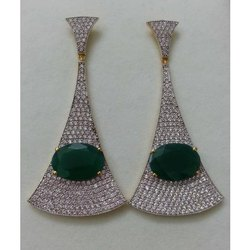 Silver Gemstone with Cubic Zirconia Earring