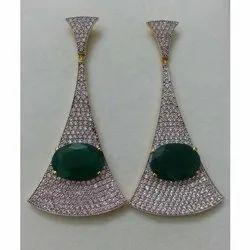 Natural Green Gemstone Onyx Jewelry 925 Sterling Silver Handmade Dangler Earrings