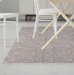 White Plain Cotton Printed Handmade Rugs India Area Rug Floor Mat, Size: 3 X 5 Feet Or 2 X 3 Feet