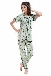 Satin Half Sleeve Night suit for ladies, Pants