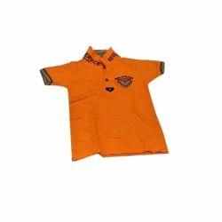Plain Casual Wear Cotton Kids Collar Neck T Shirt