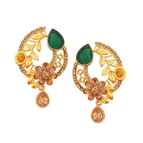 Gold Plated Fl Design Round Shape Earring