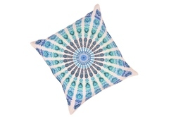 White Peacock Mandala Cushion Cover