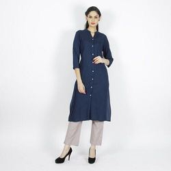 Solid Color Long Slit Kurta