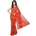 Orange Bandhej Saree