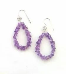 Female Amethyst Natural Gem Stone Earrings With 925 Silver