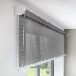 Grey Pre Spring Roller Blind for Window, Thickness: 5-6 mm