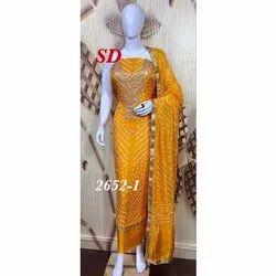 Yellow Unstitch Ladies Jaipuri Print Silk Suit, Handwash