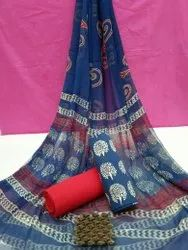 Bagru Hand Block Printed Cotton Dress Material With Chiffon Dupatta
