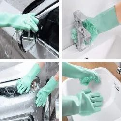 Silicone Multi Utility Gloves Assorted Colors, For Home Cleaning, Size: Free Size