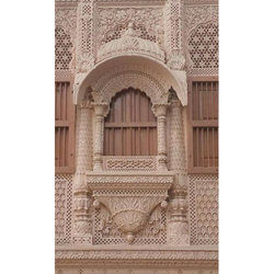 Pink Antique Stone Carved Window