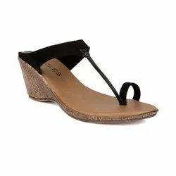 Heels Casual Wear 200108C Soles Women Black Toe-Ring Wedges, Size: 36-41