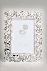Silver Plated Enameled Photo Frame with Crystal