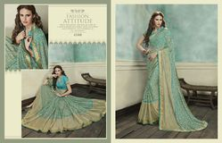 Stylish Sea Green Brasso Jacquard Saree