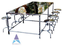 Stainless Steel Table With Folding Stool