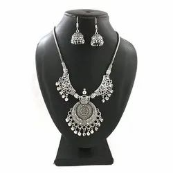 Oxidized Necklace with Matching Jhumka