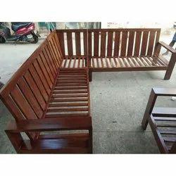 Teak Wood Isaipriya Furniture L Shape Sofa Frame, for Home