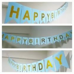 Happy Birthday Banner (Golden Print)