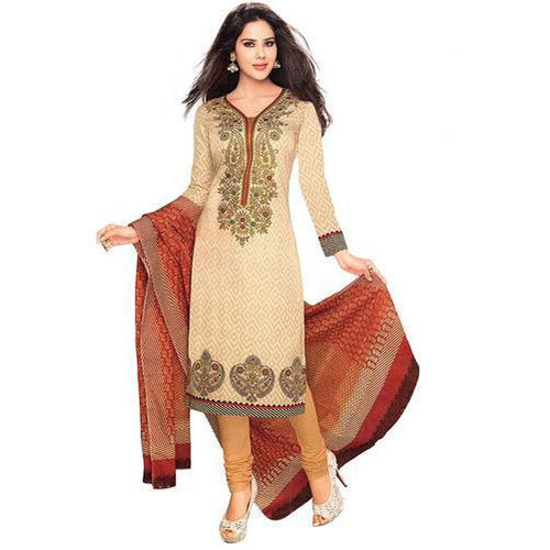 Golden Base Cotton Churidar Suit