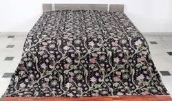 Kantha Floral Design Bed Cover
