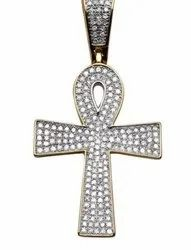 10K Gold Hip Hop Style Real Diamond Cross Pendant
