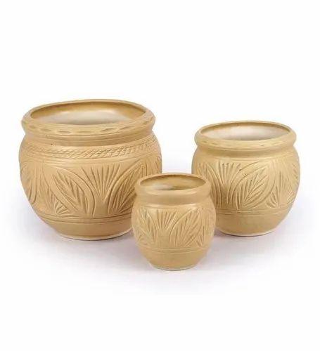 Ceramic Round Outdoor Garden Pots, Size: Big 10 * Medium 9 * Small 6