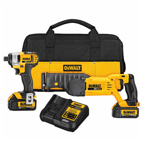 Dewalt DCK298L2 20V MAX Impact/ Recip Saw Combo Kit Weighing 1.55 Kg With Variable Speed Trigger