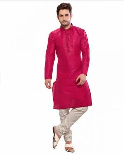 Solid Men Silk Kurta Pajama Set Pink at Rs 999  set  b95f46cfb