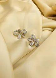 Brass Golden Gold Plated Diamond Bow Stud Earring