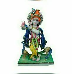 Beautiful Krishna Marble Statue With Peacock