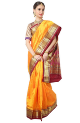 Orange Women South Pure Silk Saree