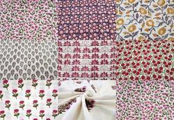 Flower Hand Block Printed Cotton Fabric Sanganeri Print