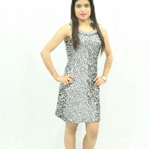 14e956fd406 M Silver   Black Short Silver Party Wear Dress