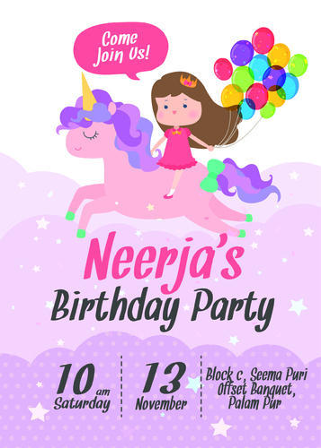 Rectangular Cardstock Birthday Invitation For Girl