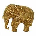 Yellow Brass Antique Elephant Statue