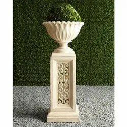 Round White Marble Modern Flower Pot, Size: 5-6 Feet