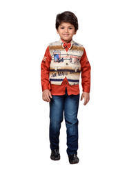 AJ Dezines red and green Kids Shirt, Jeans And Waistcoat Set For Boys, Size: 22 to 32