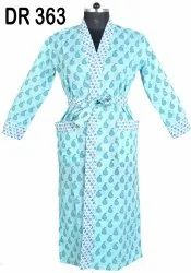 Cotton Hand Block Print Long Kimono Robes Dressing Gowns Bridesmaids DR363