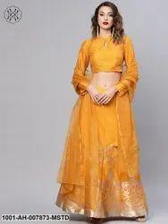 Mustard Self Designed Kali Lehenga With Choli & Dupatta