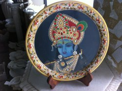 9 Inches Krishna Miniature Painting On Marble Plate